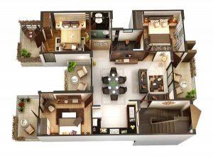 denah rumah 3 kamar tidur dengan 1 mushola berbagai ukuran