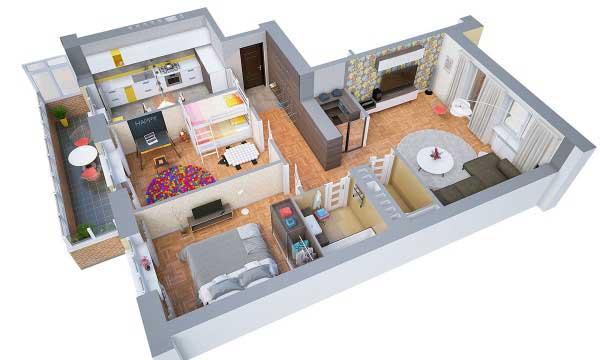 Denah Rumah Type 36/60 - Gambar Desain Rumah Minimalis ...