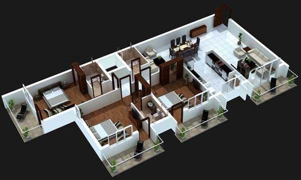 Sketsa Gambar Rumah Dengan 1 Kamar Utama dan 2 Kamar Anak