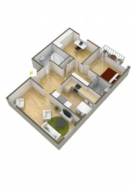 Denah Rumah Tipe 36 1 Kamar Dengan 1 Ruang Kantor