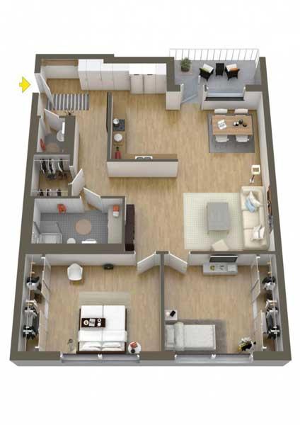 Denah Rumah Type 36/70 1 lantai