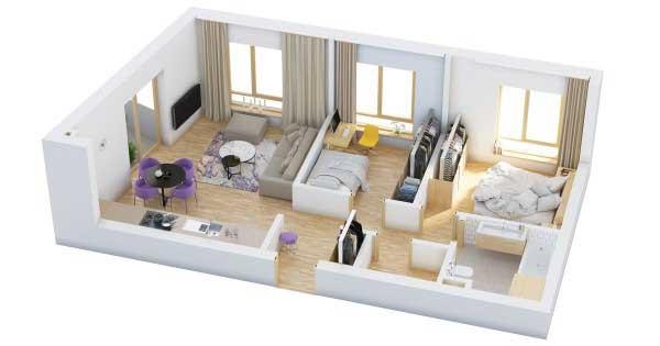 Denah Rumah Tipe 36 Dengan Bukaan Cahaya Yang Banyak