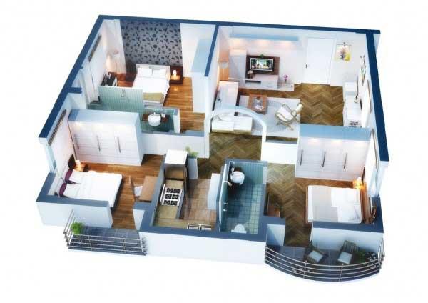 Sketsa desain 3 Kamar Dengan Furnitur Yang Serbaguna