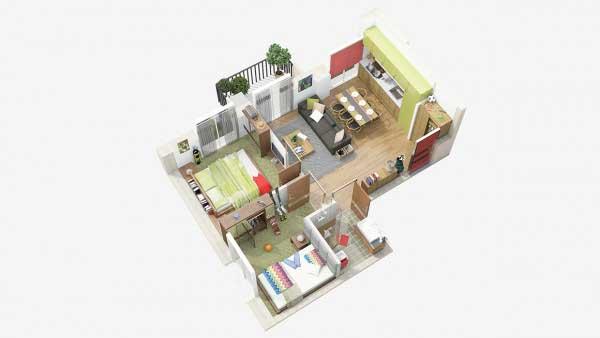 Denah Rumah Tipe 36 Open Space