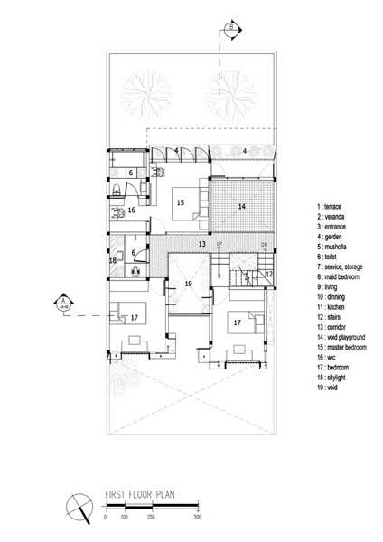 Denah Rumah 2 Lantai Industrial 1st floor