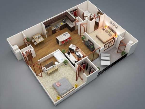 Apartemen 2 Kamar Bentuk L