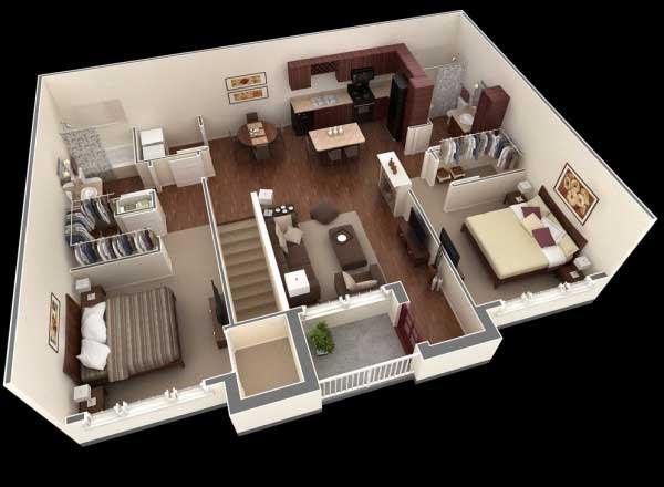 Denah Apartemen 2 Lantai