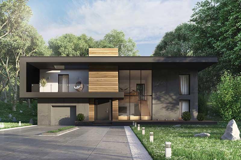 Desain Fasad 2 Lantai Modern Tropis