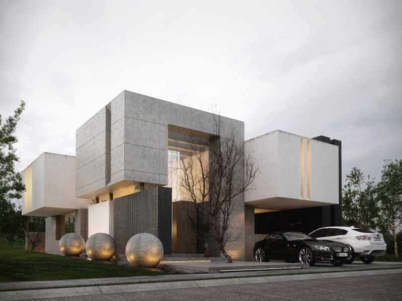 Rumah Dengan Kotak Beton