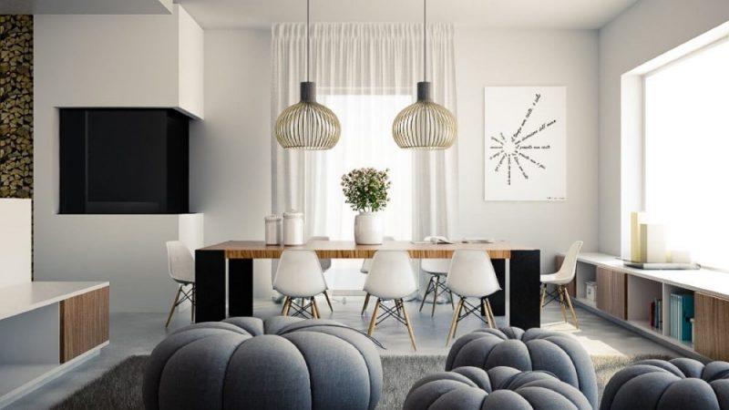Ruang Makan Dengan Kayu Modern