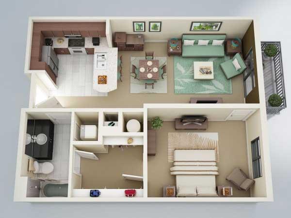 Denah Apartemen Dengan Kamar Yang Luas