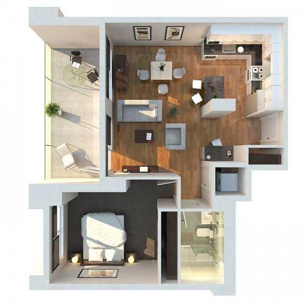 Denah Apartemen Studio