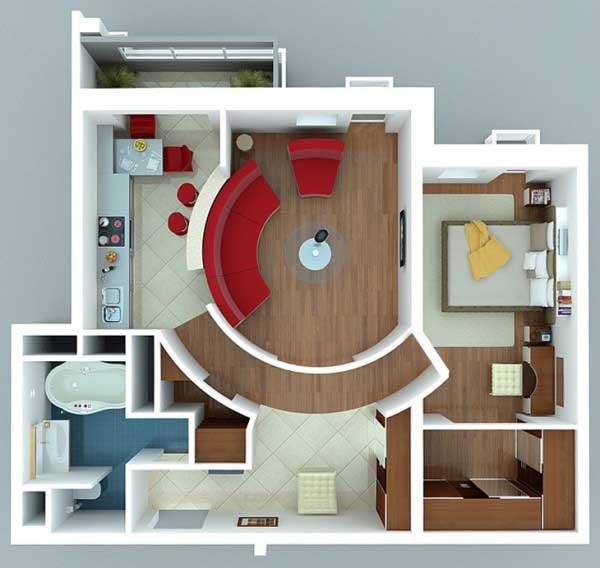 Desain Apartemen 1 Kamar Tidur Kontemporer