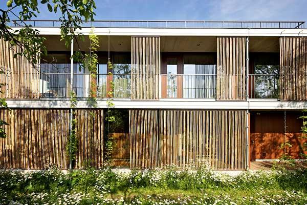 Tampak Rumah Bambu Kubus