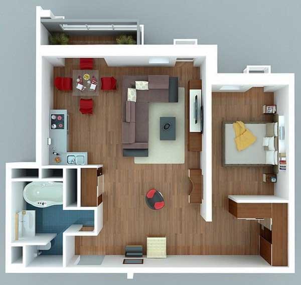 Desain apartemen Terbuka