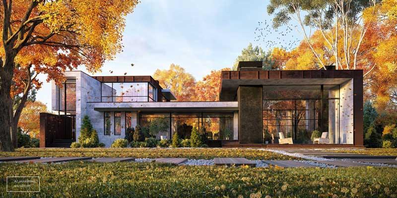 Gambar Tampak Depan Rumah Musim Gugur