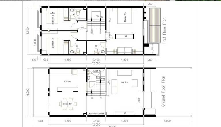 denah rumah minimalis ukuran 6x12