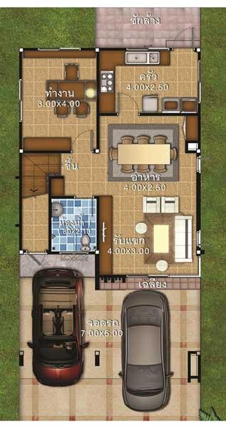 lantai 1 rumah ukuran 7x12