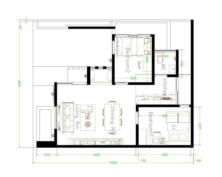 denah rumah sangat sederhana ukuran 8x10
