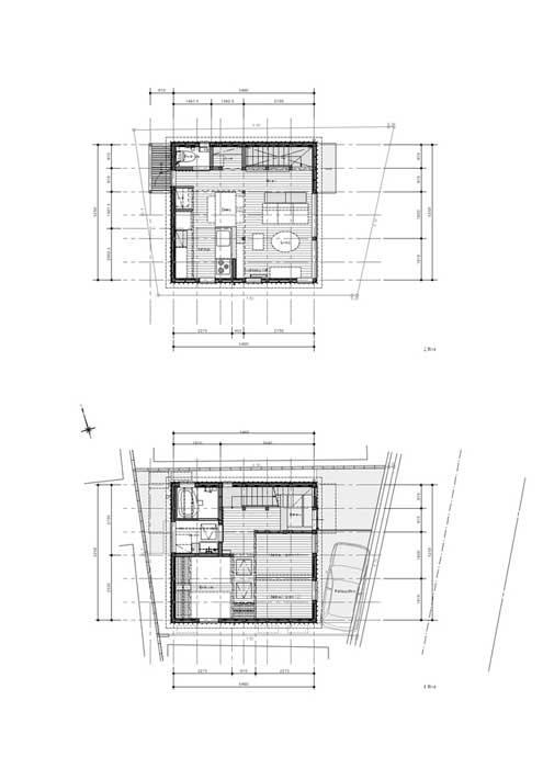 sketsa Rumah Minimalis Kayu lantai 1 dan 2