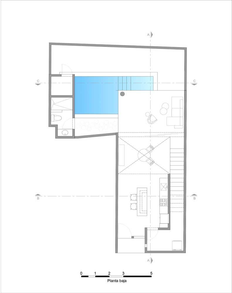 Blueprint hunian Minimalis lantai 1 Sederhana
