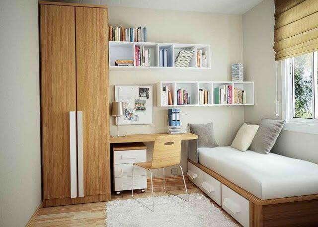kamar tidur minimalis 3x4 kombinasi kayu