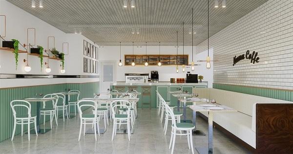 Kafe dengan Dominasi Warna Putih
