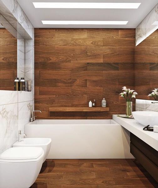 toilet dengan lantai kayu