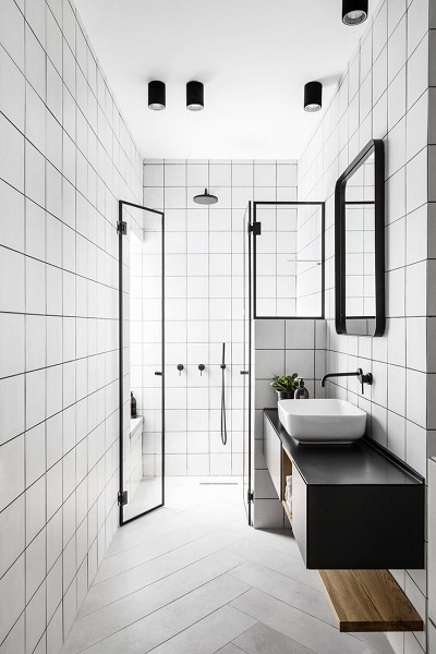 desain kamar mandi 2x3 monokrom