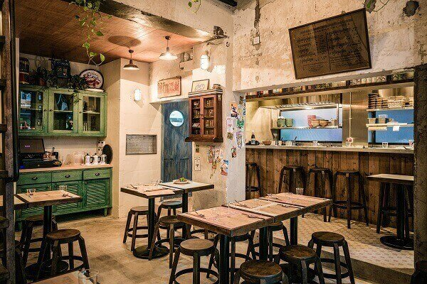 interior cafe ruko vintage