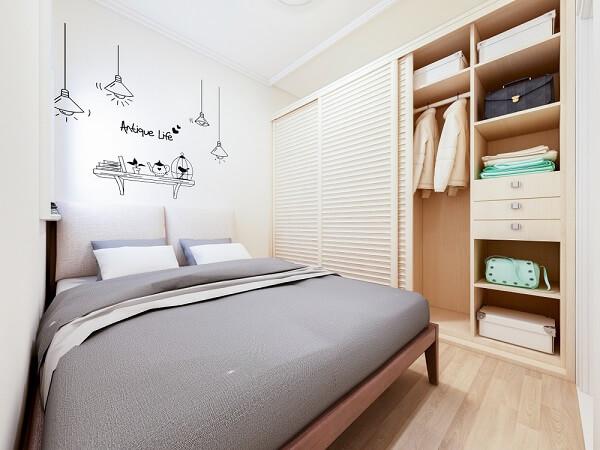kamar 3x3 suami istri dengan lemari minimalis