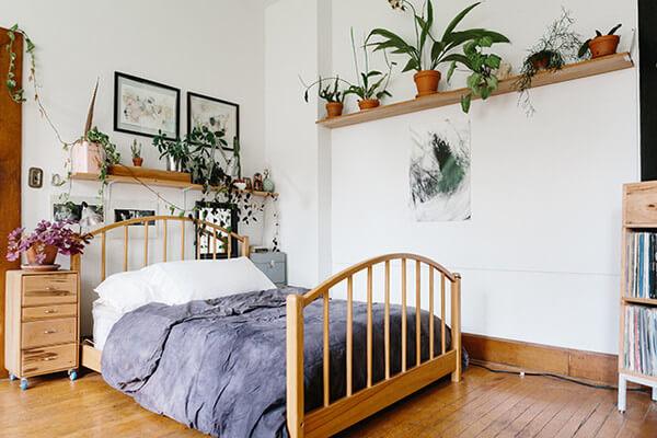 kamar 3x3 suami istri dengan tanaman