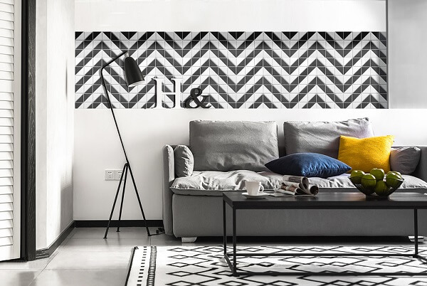 keramik dinding ruang tamu zigzag