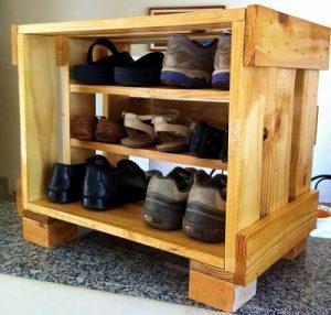rak sepatu kayu palet