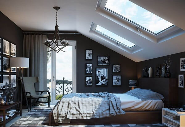 kamar aesthetic hitam putih