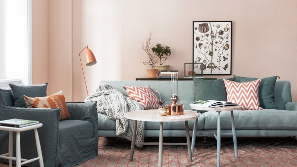 kombinasi warna plafon dinding blush