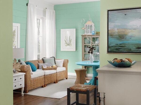 kombinasi warna plafon dinding mint dan hijau
