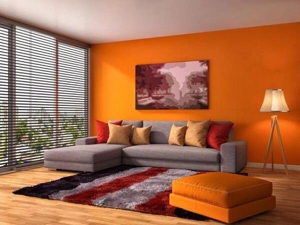kombinasi warna ceilling dinding oranye