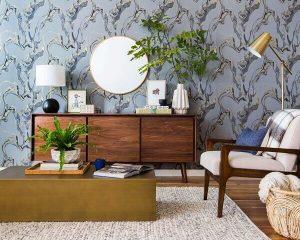 wallpaper ruang tamu motif biru