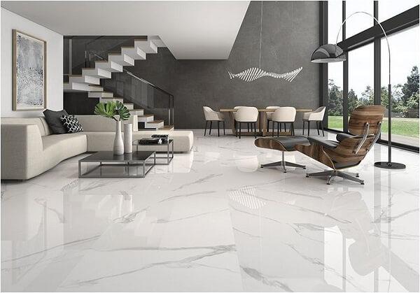lantai keramik ruang tamu dari marmer