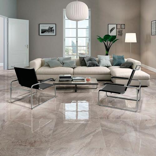 lantai keramik ruang tamu rumah mewah